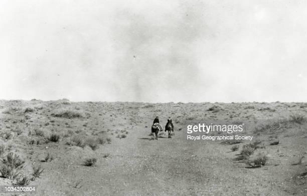 Last camp in Nefud, Alternative spelling:- 'An Nafud', Saudi Arabia, circa 1913.