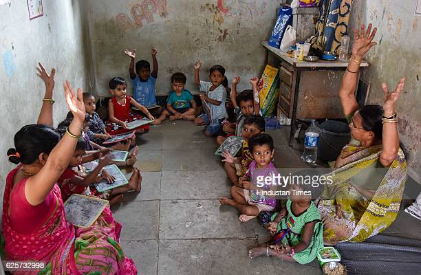 Last day for children at a local Anganwadi at Dhobi Ghat the entire plot is now readying for redevelopment on November 24 2016 in Mumbai India Total...