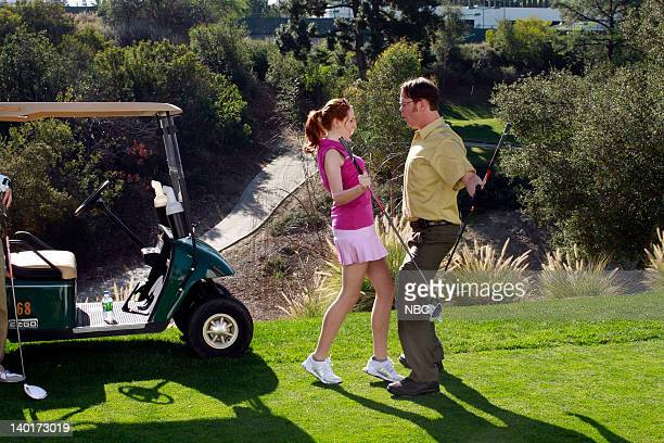 THE OFFICE Last Day in Florida Episode 818 Pictured Catherine Tate as Nellie Bertram Rainn Wilson as Dwight Schrute