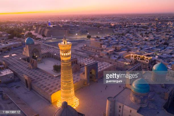 last daylight at the city of bukhara, historic silk road, uzbekistan - uzbekistan stock pictures, royalty-free photos & images
