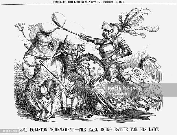 'Last Eglinton Tournament The Earl doing Battle for his Lady' 1858 Lord Eglinton Lord Lieutenant of Ireland is the knight in shining armour and...