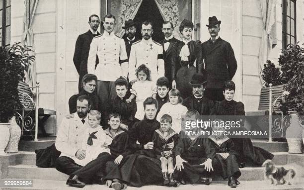 Last group photograph of the Danish royal family: from top left, Prince Jean d'Orleans, Czarevitch, Prince Waldemar of Denmark, Tsar Nicholas II...