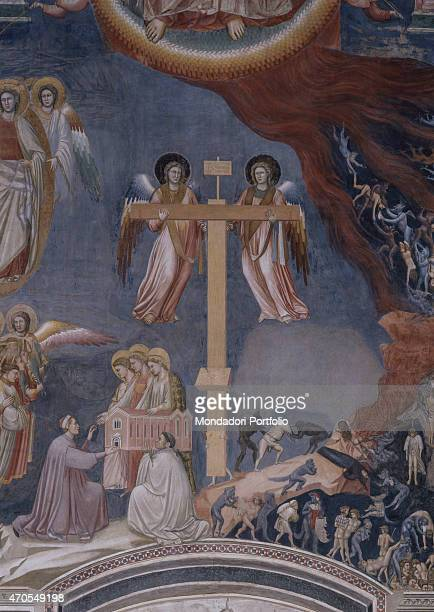 'Last Judgement by Giotto 13031305 14th Century fresco Italy Veneto Padua Scrovegni Chapel After restoration picture Detail Lower section of the Last...