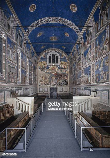 'Last Judgement by Giotto 13031305 14th Century fresco Italy Veneto Padua Scrovegni Chapel After restoration picture Whole artwork view Overall view...