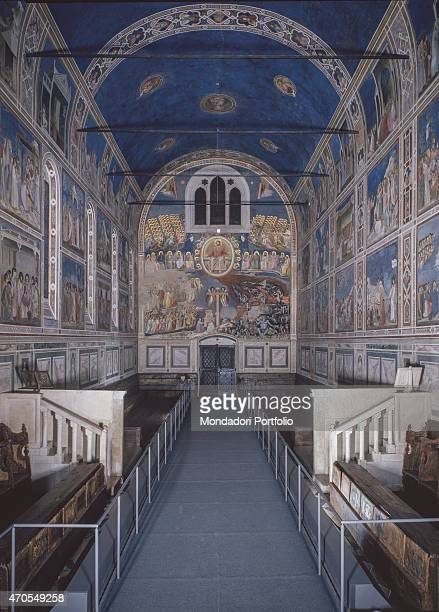 'Last Judgement by Giotto 13031305 14th Century fresco Italy Veneto Padua Scrovegni Chapel After restoration picture Whole artwork view Overalla view...