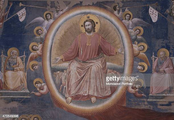 """Last Judgement , by Giotto, 1303-1305, 14th Century, fresco Italy, Veneto, Padua, Scrovegni Chapel. After restoration picture. Detail. Jesus Christ..."