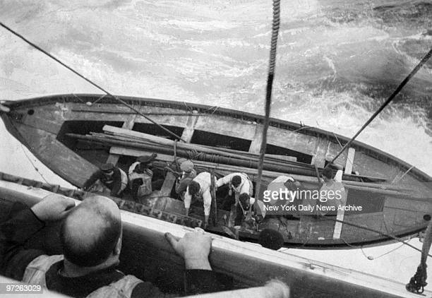 Last lifeboat of the Vestris being lowered before the ship sank off the coast of Hampton Roads, Va., after capsizing due to severe weather conditions.