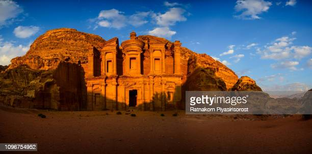 last light at ad deir ( the monastery ) - petra / jordan - jordan middle east stock pictures, royalty-free photos & images