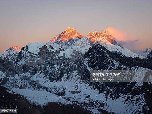 Last light on Mt Everest and Lhotse from Gokyo Ri