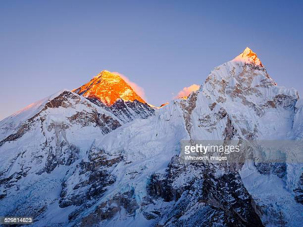 Last light on Mt Everest and Nuptse, Nepal