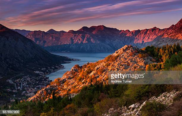 last light over kotor - montenegro stock pictures, royalty-free photos & images