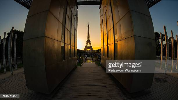 Last light with Eiffel Tower Taken from Mur de la Paix with fisheye lens