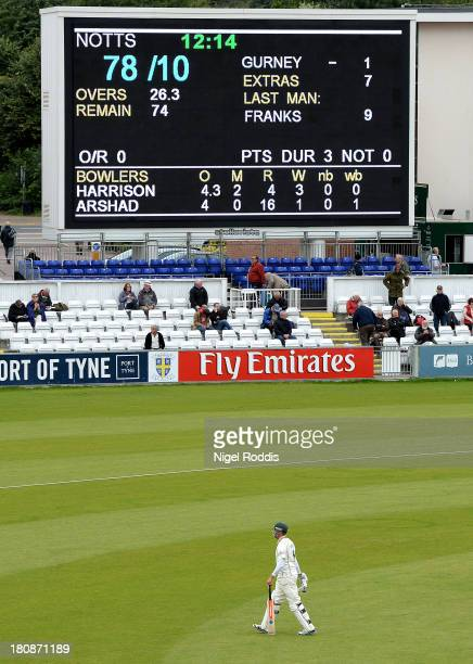 Last man Paul Franks of Nottinghamshire walks off after being dismissed by Jamie Harrison of Durham during day one of the LV County Championship...