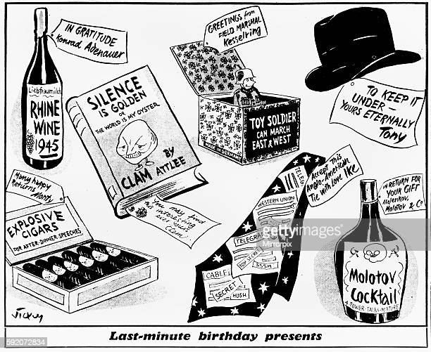Last minute birthday presents Vicky cartoon 29th November 1954 One the eve of Winston Churchill's 80th birthday mirror cartoonist Vick comes up with...