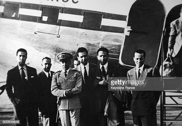 Last minutes of liberty for FLN Ahmed Ben Bella Hocine Ait Ahmed Mohamed Boudiaf and Mohamed Khider before leaving in the Air Maroc airplane which...