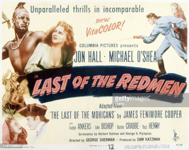 Last Of The Redmen poster top from left Buster Crabbe Evelyn Ankers Jon Hall 1947