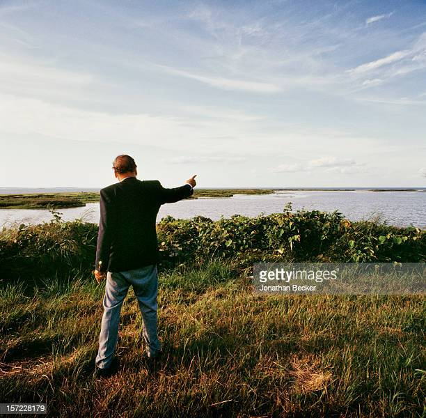 Last owner of Gardiner's Island, Robert David Lion Gardiner is photographed for Vanity Fair Magazine on August 12, 1992 on Gardiner's Island in East...