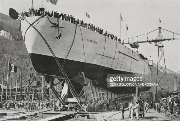 Last preparations for the launch of the dreadnought Caracciolo of the Italian Royal Navy on May 12 Castellammare di Stabia Italy photo by Giulio...