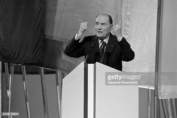 Last rally of French President Francois Mitterrand candidat for reelection as President at Le Bourget