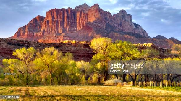 Last rays of sunset light against peaks in Zion as seen from Rockville Utah looking across grass pasture fields toward Mount Kinesava