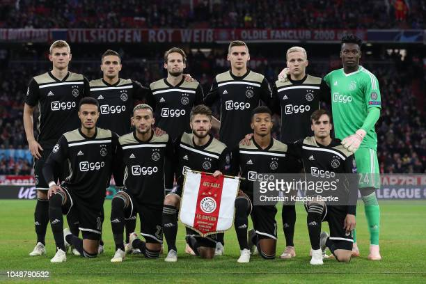 Last row from LR Matthijs de Ligt of Amsterdam Dusan Tadic of Amsterdam Daley Blind of Amsterdam Maximilian Woeber of Amsterdam Donny van de Beek of...