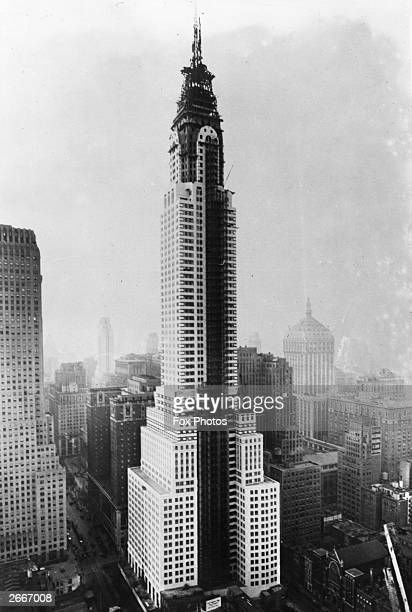Last stages in the construction of the Chrysler Building New York designed by William Van Alen