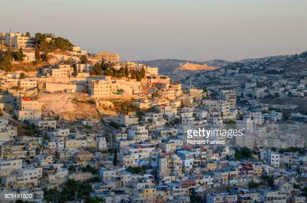 last sunlight on silwan - jerusalem stock pictures, royalty-free photos & images