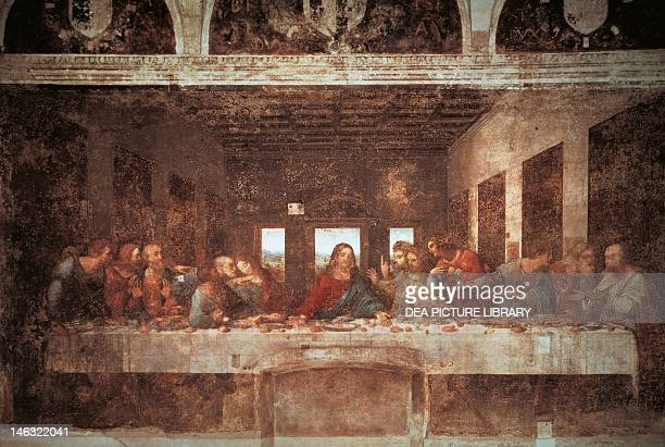 Last Supper 14941498 by Leonardo da Vinci tempera on plaster 460x880 cm Santa Maria delle Grazie refectory Milan