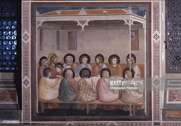 'Last Supper by Giotto 13031305 14th Century fresco Italy Veneto Padua Scrovegni Chapel After restoration picture Whole artwork view The scene takes...