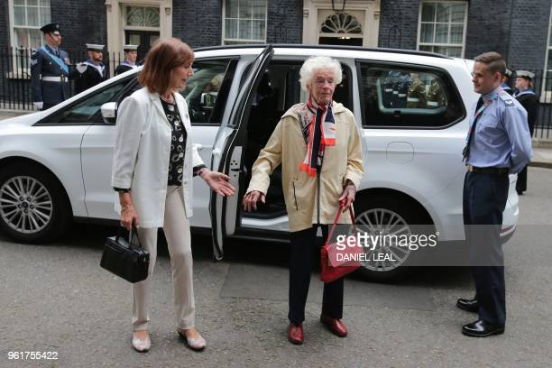 Last surviving female WW2 pilot Mary Ellis arrives outside number 10 Downing Street in central London on May 23 for a reception hosted by Britain's...