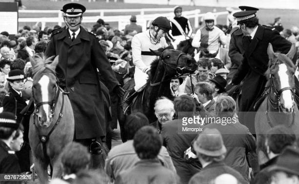 Last Suspect ridden by Jockey Hywel Davies wins the 1985 Grand National at Aintree Racecourse 30th March 1985