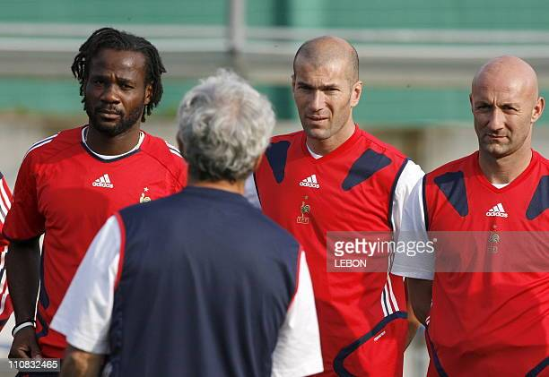 Last Training For French Team Before 2006 Fifa World Cup Final In Berlin Germany On July 082006 Pascal Chibomda Zinedine Zidane and Fabien Barthez...