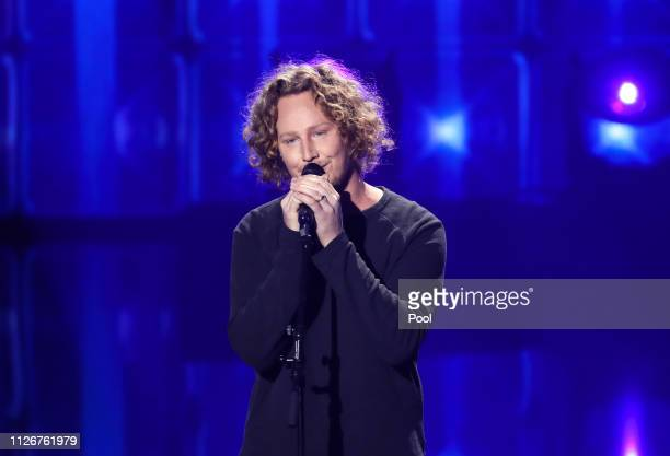 Last year's singer Michael Schulte performs live on stage during the show Unser Lied fuer Israel at Studio Berlin Adlershof on February 22 2019 in...
