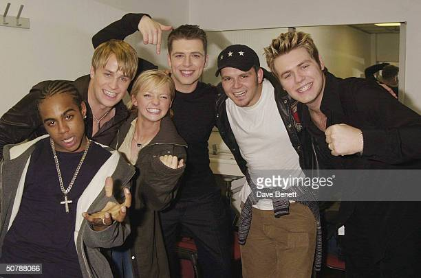 Last years winners Westlife party with this years winners Hearsay at the Record Of The Year event at Southbank on December 8th 2001 in London
