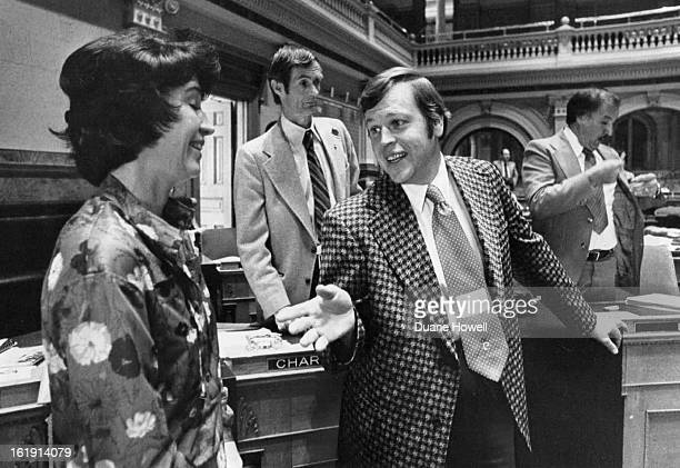 MAY 10 1978 LastDay Discussion Rep Anne Gorsuch RDenver left debates with Rep Cliff Dodge RDenver House sponsor of the controversial sentencing bill...