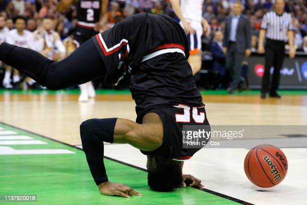 Laster of the Gardner Webb Runnin Bulldogs hits the floor in the first half against the Virginia Cavaliers during the first round of the 2019 NCAA...