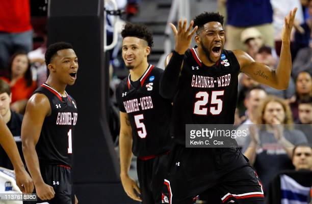 Laster of the Gardner Webb Runnin Bulldogs reacts after a play in the first half against the Virginia Cavaliers during the first round of the 2019...