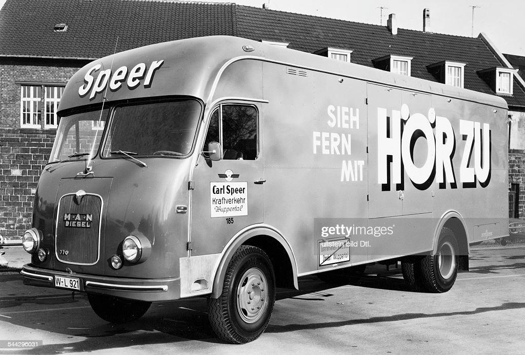 man lastkraftwagen der spedition carl speer mit werbung. Black Bedroom Furniture Sets. Home Design Ideas