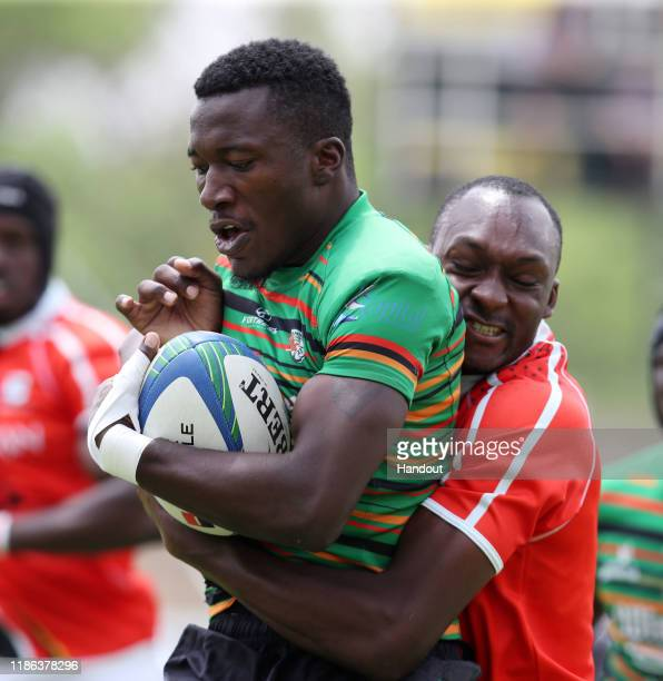 Laston Mukosa of Zambia during the 2019 Rugby Africa Mens 7s match between Ghana and Zambia at the Bosman Stadium Brakpan on November 08 2019 in...