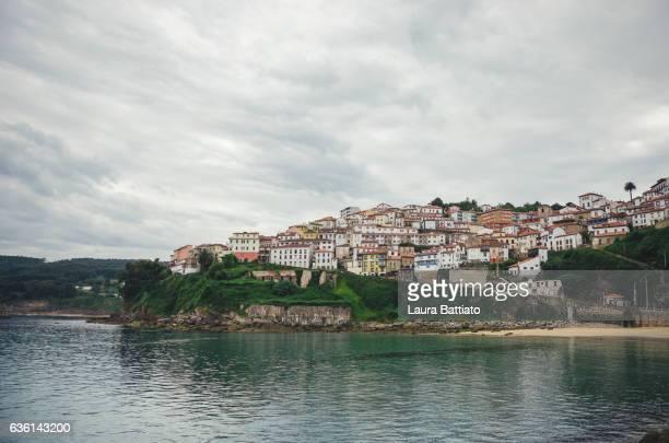 Lastres (Llastres), skyline of the town, Asturias, Spain