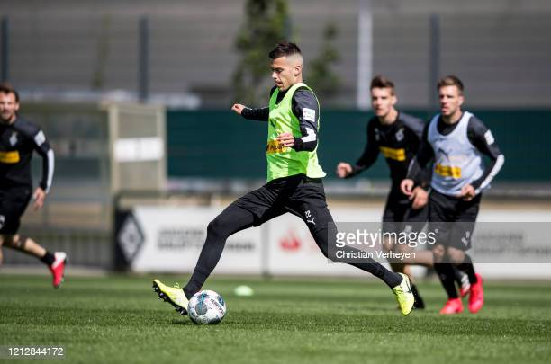 Laszlo Benes in action during a training session of Borussia Moenchengladbach at BorussiaPark on May 11 2020 in Moenchengladbach Germany