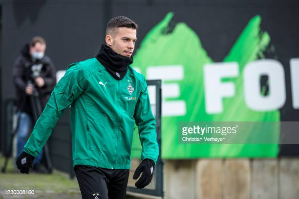 Laszlo Benes is seen during a training session of Borussia Moenchengladbach ahead the Group B - UEFA Champions League match between Real Madrid and...