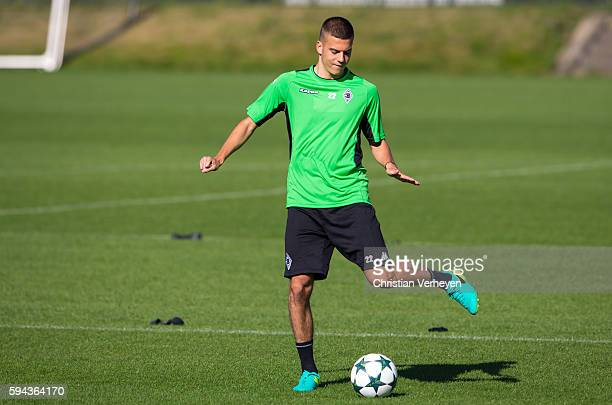 Laszlo Benes of Borussia Moenchengladbach controls the ball during the training session of Borussia Moenchengladbach at Borussia Park on August 23...