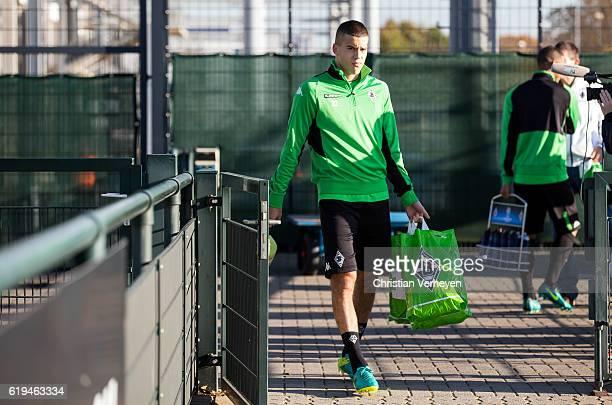 Laszlo Benes of Borussia Moenchengladbach during a training session ahead the UEFA Champions League match between Borussia Moenchengladbach and...