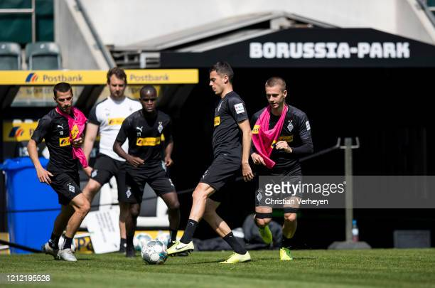 Laszlo Benes of Borussia Moenchengladbach in action during a training session of Borussia Moenchengladbach at BorussiaPark on May 08 2020 in...
