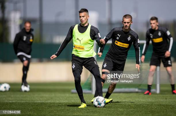 Laszlo Benes of Borussia Moenchengladbach in action during a training session of Borussia Moenchengladbach at BorussiaPark on May 11 2020 in...