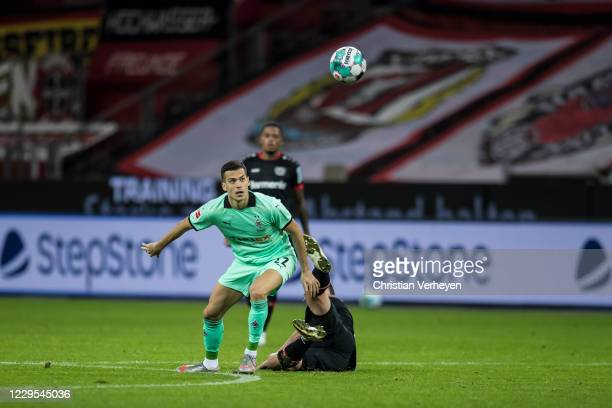 Laszlo Benes of Borussia Moenchengladbach in action during the Bundesliga match between Bayer 04 Leverkusen and Borussia Moenchengladbach at BayArena...