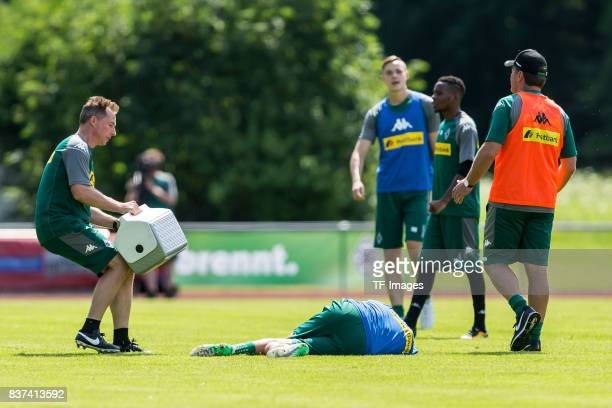 Laszlo Benes of Borussia Moenchengladbach on the ground during a training session at the Training Camp of Borussia Moenchengladbach on July 19 2017...