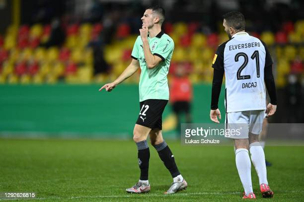 Laszlo Benes of Borussia Monchengladbach celebrates after scoring their team's second goal during the DFB Cup second round match between SV...