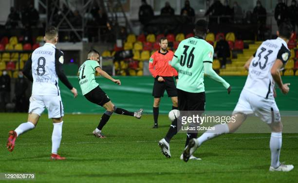 Laszlo Benes of Borussia Monchengladbach scores their team's second goal during the DFB Cup second round match between SV Elversberg and Borussia...